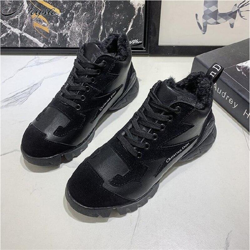 Mhysa 2019 Winter Fashion Shoes Women Plus velvet Keep warm Lace-up Comfort Shoes Woman Vulcanized Shoes Women Sneakers L1094