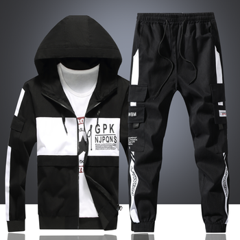 Casual Mens Long Jacket Hooded Men Coat Casual Pants Letters Printed 2pcs Set Loose Cargo Style H092