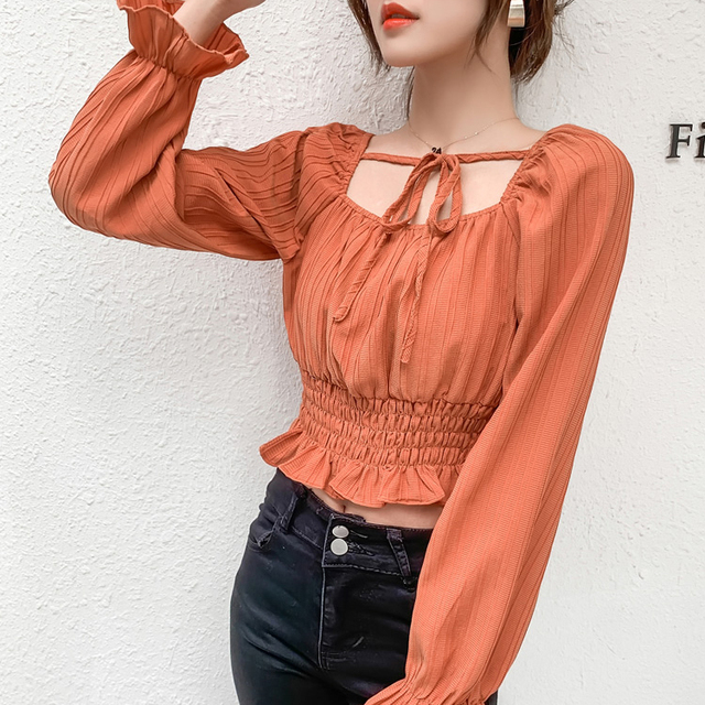 Temperament Square Collar Blouses Women 2021 Spring New Style Short Chiffon Plus Size Shirts Sweet Solid Color Long Sleeve Tops 2