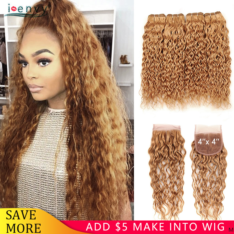 Honey Blonde Water Wave Bundles With 4X4 Lace Closure Human Hair Weaves Brazilian Blonde Bundles With Closure Curly Remy I Envy