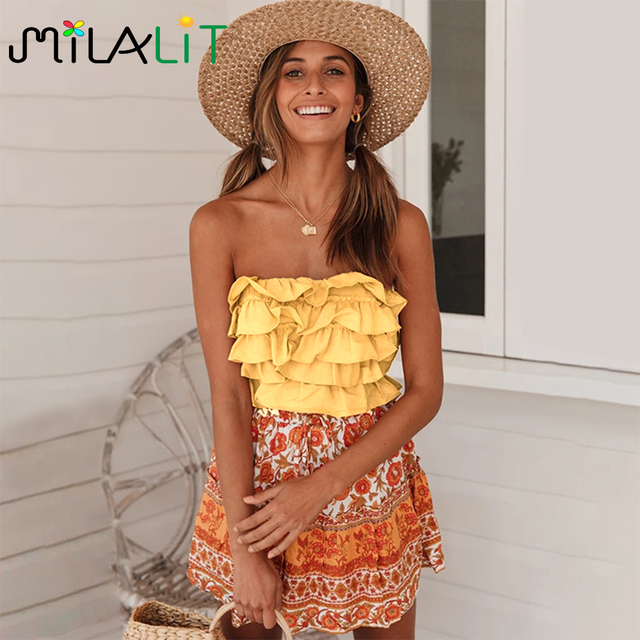 Milalit Cascading Ruffles Strapless Yellow Pink Mix Color Patchwork Slash Neck Short Sleeveless Tops with Backless Tie Ribbon 1