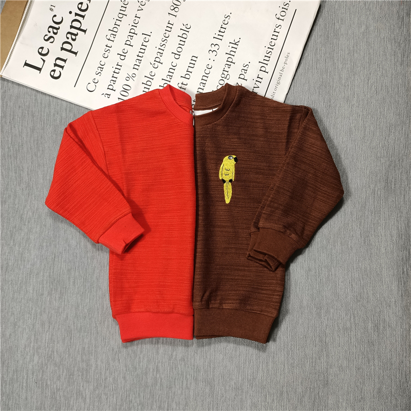 yellow parrot sweaters red/brown for  kids boys girls autumn 4