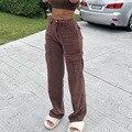 Джинсы женские 2021 новые женские брюки в европейском и американском стиле ретро коричневые прямые брюки с карманами и высокой талией женски...
