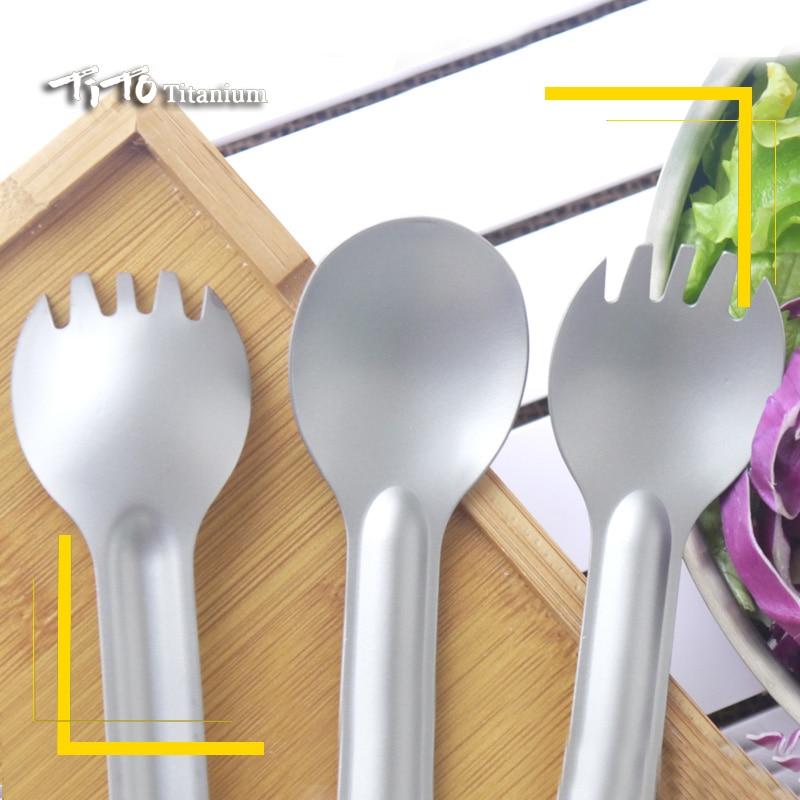 1pc Titanium Spoon Long Handle Spoon Outdoor Camping Tableware ESUS MP