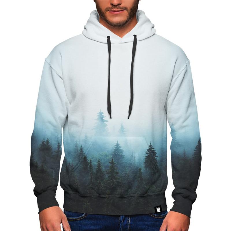 Foggy Forest Print Men Hoodies Long Sleeve Pullover Casual Streetwear Loose Hip Hop Sweatshirt Unisex Hooded Tops