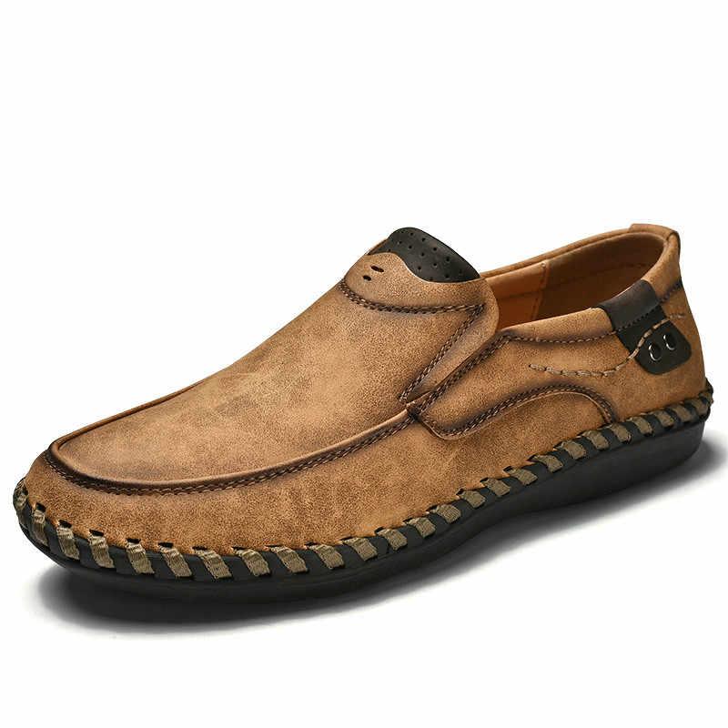 高品質本革メンズシューズソフトモカファッションブランド男性フラッツ快適な駆動靴ビッグサイズ 39-48