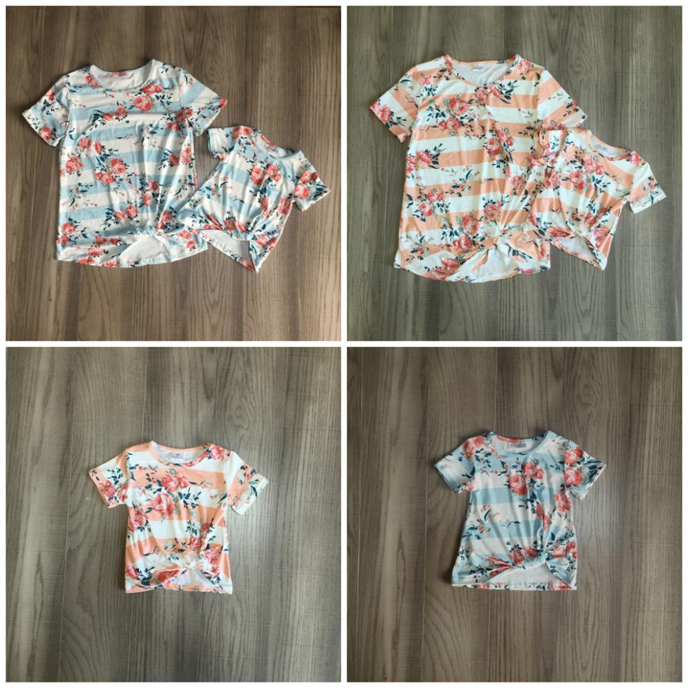 Verão bebê meninas boutique t-shirts roupas coral listra floral laço nó algodão parte superior mommy & me crianças raglan manga curta