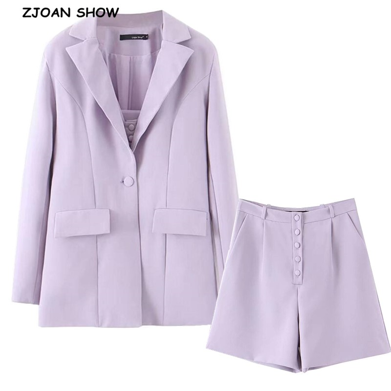 2019 Boyfriend Style One Button Mid Long Women Blazer High Waist Loose Shorts Short Pants Long Sleeve Suits 3 Pieces Set