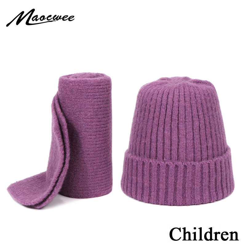 Knitted Hat With Scarf Winter Warm Children Hat & Scarf For Girls Boys Two Piece Set Ear Protection Soft Warm Beanie Skullies