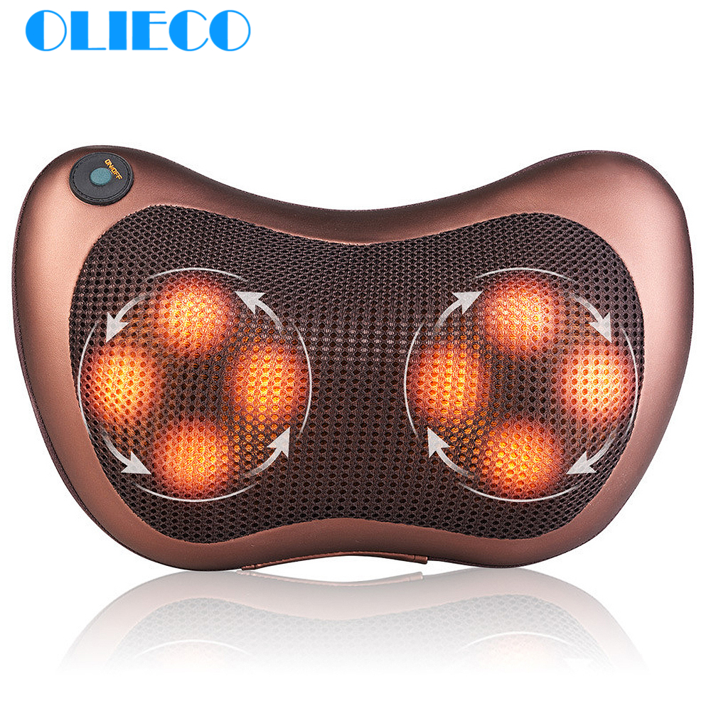 OLIECO Electrical Massage Pillow Neck Back Leg Waist Shoulder Infrared Heating Therapy Shiatsu Massager Car Seat Pillow Cushion