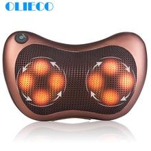 Olieco 전기 마사지 베개 목 뒤로 다리 허리 어깨 적외선 난방 치료 지압 마사지 자동차 좌석 베개 쿠션