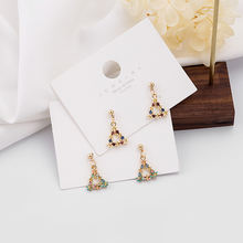 Hello miss new small fresh colored drip oil flower earrings