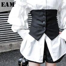 [EAM] Women Black Button Split Joint Asymmetrical Loose Fit Vest New Sleeveless   Fashion Tide Spring Autumn 2021 1K371