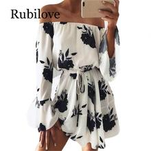 Rubilove Elegant Ladies Off Shoulder Party Dresses With Belt Women Fashion Summer Casual Long Sleeve Boho Floral Print Beach Dre