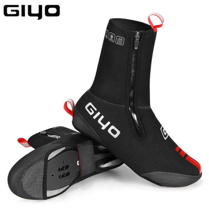 Waterproof Windproof Fleece Cycling Road Bike Lock Shoes Covers Thermal Bicycle Overshoes Winter Road Bike Shoes Cover Protector