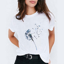 T-shirts para mulher dandelion pintura em aquarela verão outono das mulheres harajuku gráfico topos das senhoras do sexo feminino t camisas