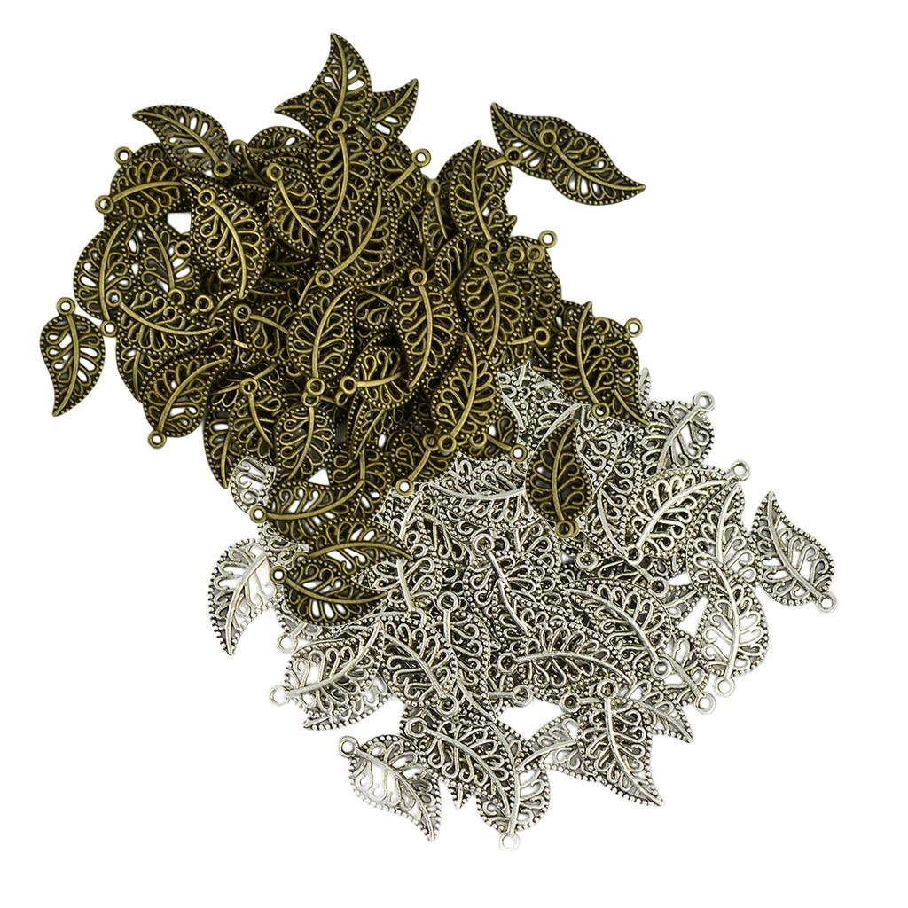 200Pcs 18x10mm Retro Filigree Hollow Leaf Charms Pendants Necklace DIY Craft