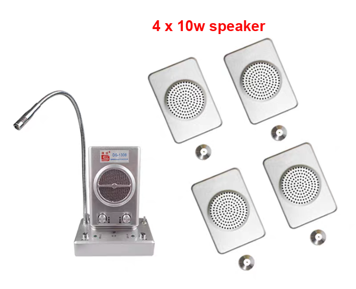 Jendela Logam Mikrofon Audio-Interfon Speaker dual-Way Kantor Bank Toko Station 4 Pcs 10W Window Mikrofon