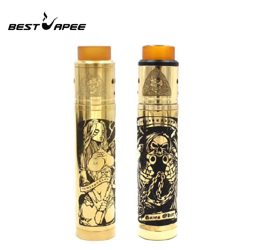 Brass Tower Mech Mod Kit 18650 Battery With RDA Tank Compatible Vape Rta Rtda Atomizer Vaporizer Vape VS Sob Mechanical Mod Kit