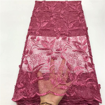 Latest French Advanced 3D leaves Nigerian Lace Dress High Quality Sequins Tulle African Lace Fabric Wedding French Tulle Lace
