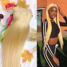 Em linha reta 613 cabelo loiro ali rainha pacote unproccessed raw virgem extensão do cabelo humano brasileiro remy cabelo humano duplo desenhado
