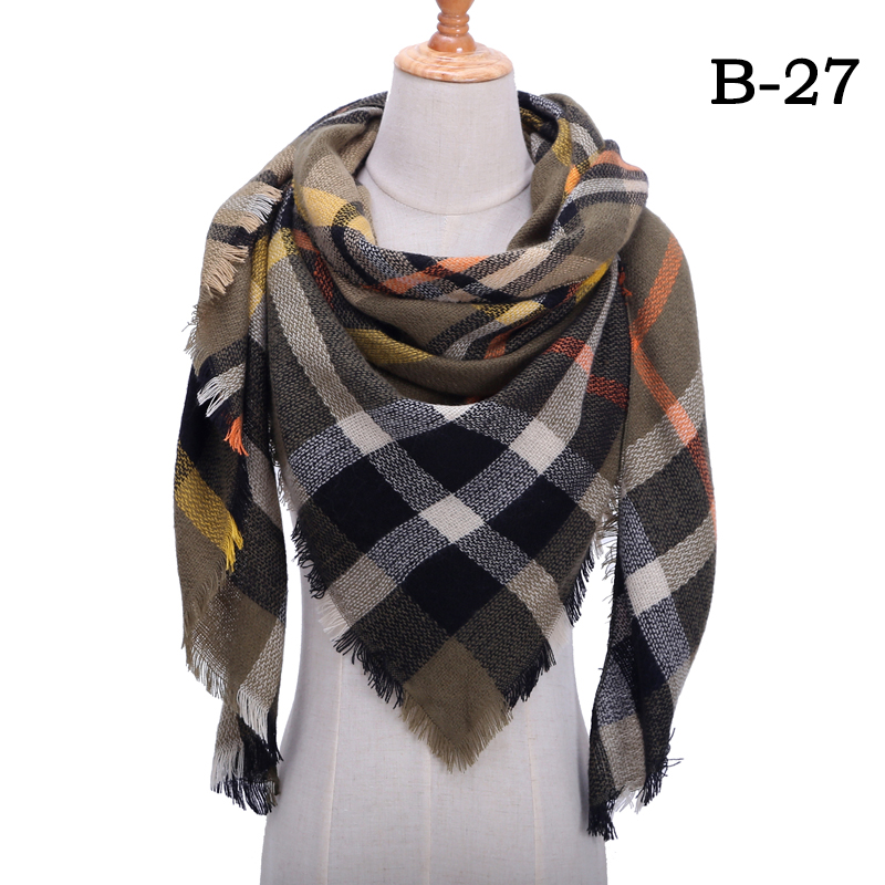 Женский зимний шарф в ретро стиле, кашемировые вязаные пашмины шали, женские мягкие треугольные шарфы, бандана, теплое одеяло, новинка - Цвет: bb27
