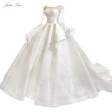 جوليا كوي الراقية خمر منتفخ تنورة من الكرة ثوب فساتين الزفاف مع كم طويل زي العرائس الجمال رداء دي Mariage