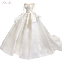 Julia Kui High end Vintage Puffy Skirt Of Ball Gown Wedding Dresses With Long Sleeve Beauty Bridal Gowns Robe de Mariage