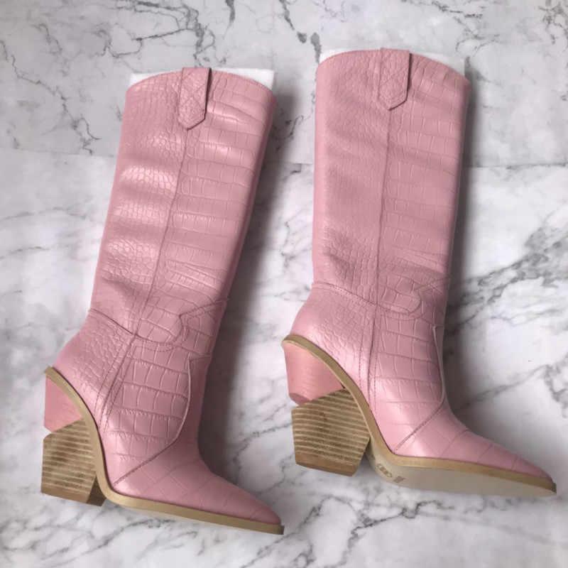 Moda kadın sivri burun diz botları 2019 Sonbahar/kış gerçek deri Şövalye Çizmeler kadın botları EU35-40 boyutu BY716
