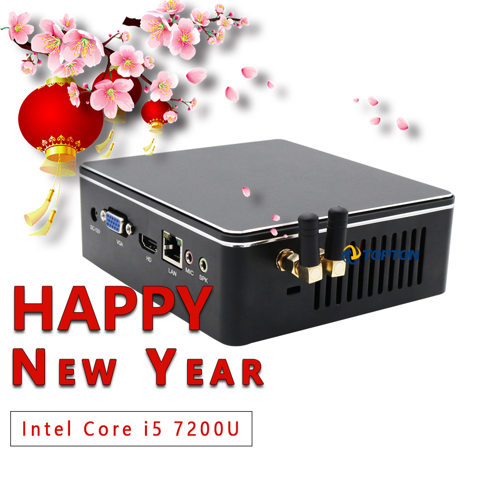 Windows 10 Sticker/Linux Mini PC, Intel Core I5 7200U I3 7100U Mini Pocket Computer WiFi, HDMI&VGA Ports,1*LAN ,Office MINI PC