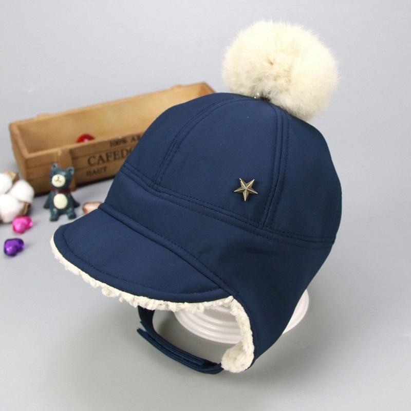Маска для лица для мальчиков и девочек; шапка-ушанка с помпоном; милая детская зимняя бархатная утолщенная теплая ветрозащитная плюшевая шапка - Цвет: Синий