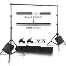 Photo Background Backdrop Stand Support System Kit Heavy Duty Adjustable With Carrying Case For Muslin Photo Video Studio