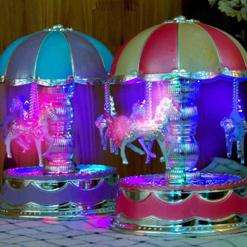 LED Light Horse Carousel Merry-Go-Round Music Box Kids Christmas Birthday Gifts Y4QA