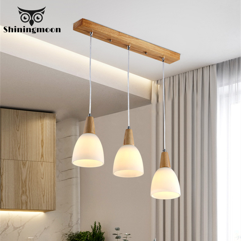 Chinese Classical LED Pendant Lights Vintage Wooden Glass Kitchen Dining Lamp Restaurant Cafe Light Luminaria