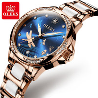 Automatic mechanical woman watch diamond Natural mother of pearl dragonfly dial Stainless steel ceramic Waterproof OLEVS6610