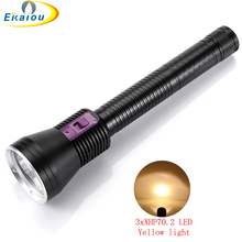 3x XHP70.2 High Power profession LED Scuba Diving Flashlight Waterproof Underwater 200 M Diver Yellow/White light /Tactics Torch