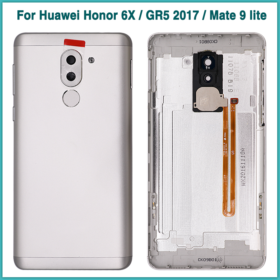 Full Housing Case with fingerprint Flex Cable For <font><b>Huawei</b></font> Honor 6X / <font><b>GR5</b></font> <font><b>2017</b></font> / Mate 9 lite Battery Cover Door Rear Back Cover image