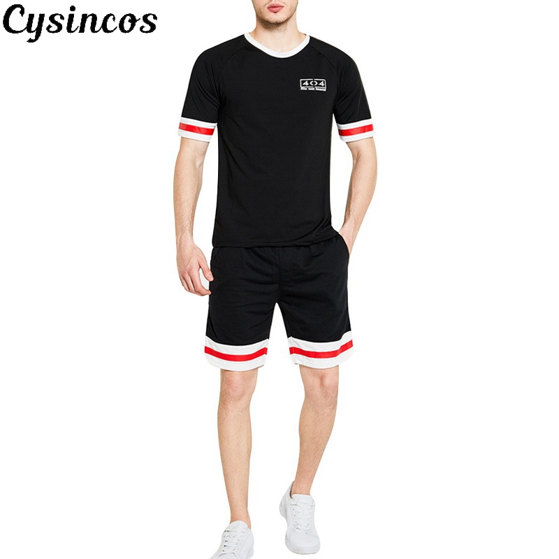 CYSINCOS 2020 Men Casual Set Fashion 2 PCS Sweat Suit Striped Short Sleeve Shorts Male Sportswear Tracksuit Summer Sportsuit