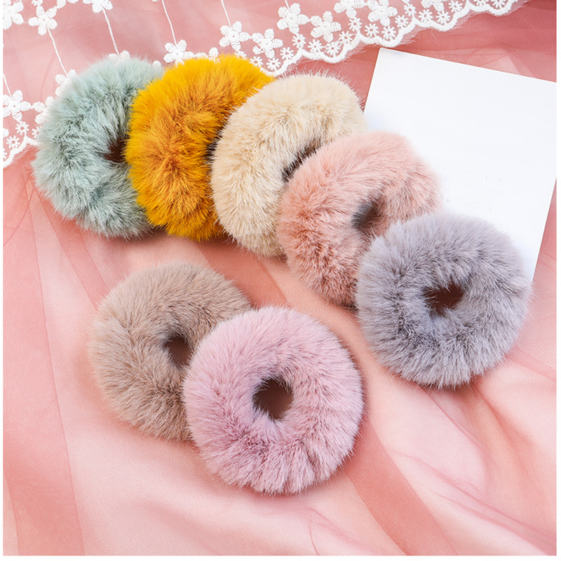 2019 New Winter Plush Scrunchies Women Girl Imitation Mink Elastic Hair Rubber Bands Accessories Tie Hair Ring Holder Headdress
