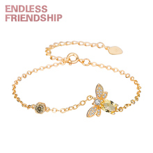 Endless Friendship Fashion Bracelet Jewelry Gold Crystal Honey Animal Bees Bracelets for Women pulseras Anniversary gift