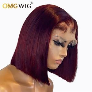 4X4 Closure Lace Wig Burgundy 99J Color Wig 150% Pixie Short Bob Cut Human Hair Wigs For Black Women Preplucked Brazilian Remy