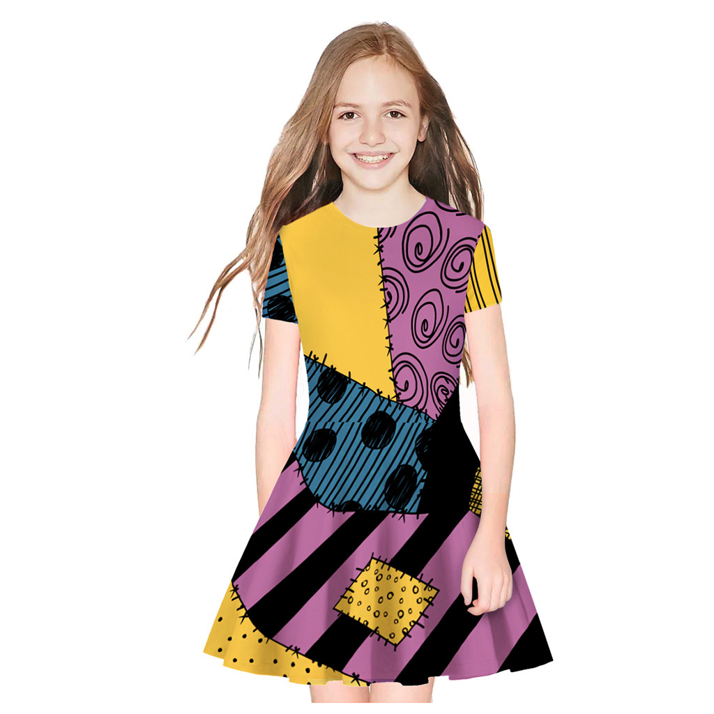 Yangmaile Teens Dress Costume Summer Kids Girls Short Sleeve Print Patchwork Dresses New Fashion Child Girls Casual Dress #BL1