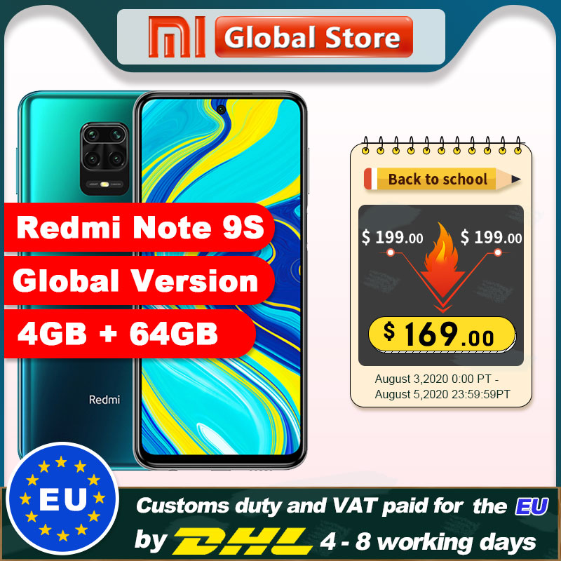 Global Version Xiaomi Redmi Note 9S 4GB 64GB /6GB 128GB smartphone Snapdragon 720G Octa core 5020 mAh 48MP Quad Camera(China)