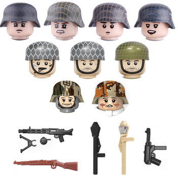 WW2 German Army Soldiers Figures Weapon Building Blocks WW2 Army Soldiers Figures 98K Guns Helmet Weapons Accessories Bricks Toy 21pcs machine gun moc weapon pack military accessories blocks city police ww2 soldiers figures bricks parts compatible legoed