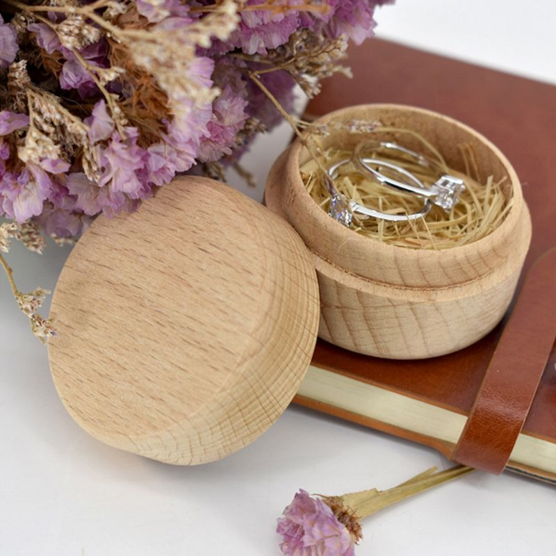DIY Handmade Ring Jewelry Storage Box Crafts Wooden Round Jewellery Case 95AB