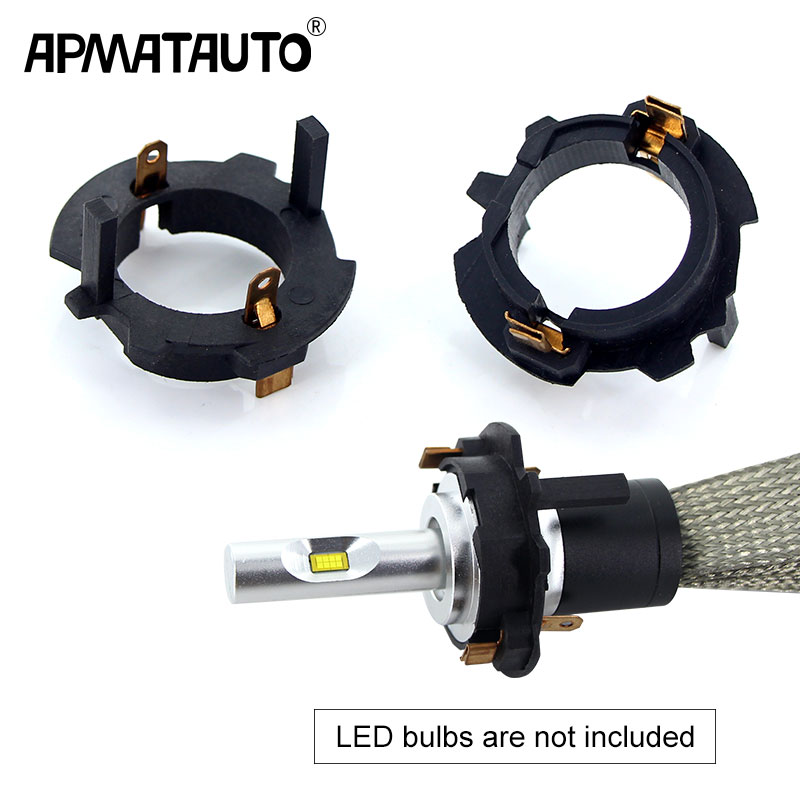 Apmatauto 2pcs Led H7 Headlight Bulbs Adapters Holders Base For VW Golf 5 Jetta MK5 Car Styling Holder Replace Original Base