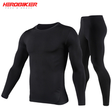 HEROBIKER Motorcycle Thermal Underwear Set Mens Skiing Winter Warm Base Layers Tight Long Johns Tops & Pants