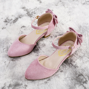Princess Kids Leather Shoes For Girls Flower Casual Glitter Children High Heel Girls Shoes Butterfly Knot Blue Pink Peacock Blue