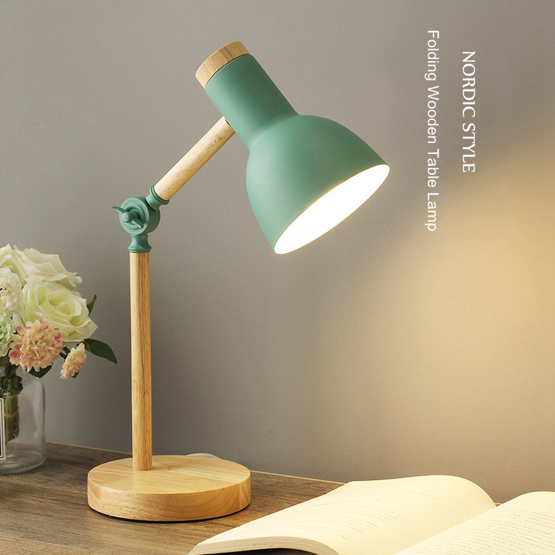 Creative Nordic Wooden Art Iron LED Folding Simple Desk Lamp Eye Protection Reading Table Lamp Living Room Bedroom Home Decor|Desk Lamps| - AliExpress