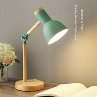 Kreative Nordic Holz Kunst Eisen LED Folding Einfache Schreibtisch Lampe Augenschutz Lesen Tisch Lampe Wohnzimmer Schlafzimmer Wohnkultur